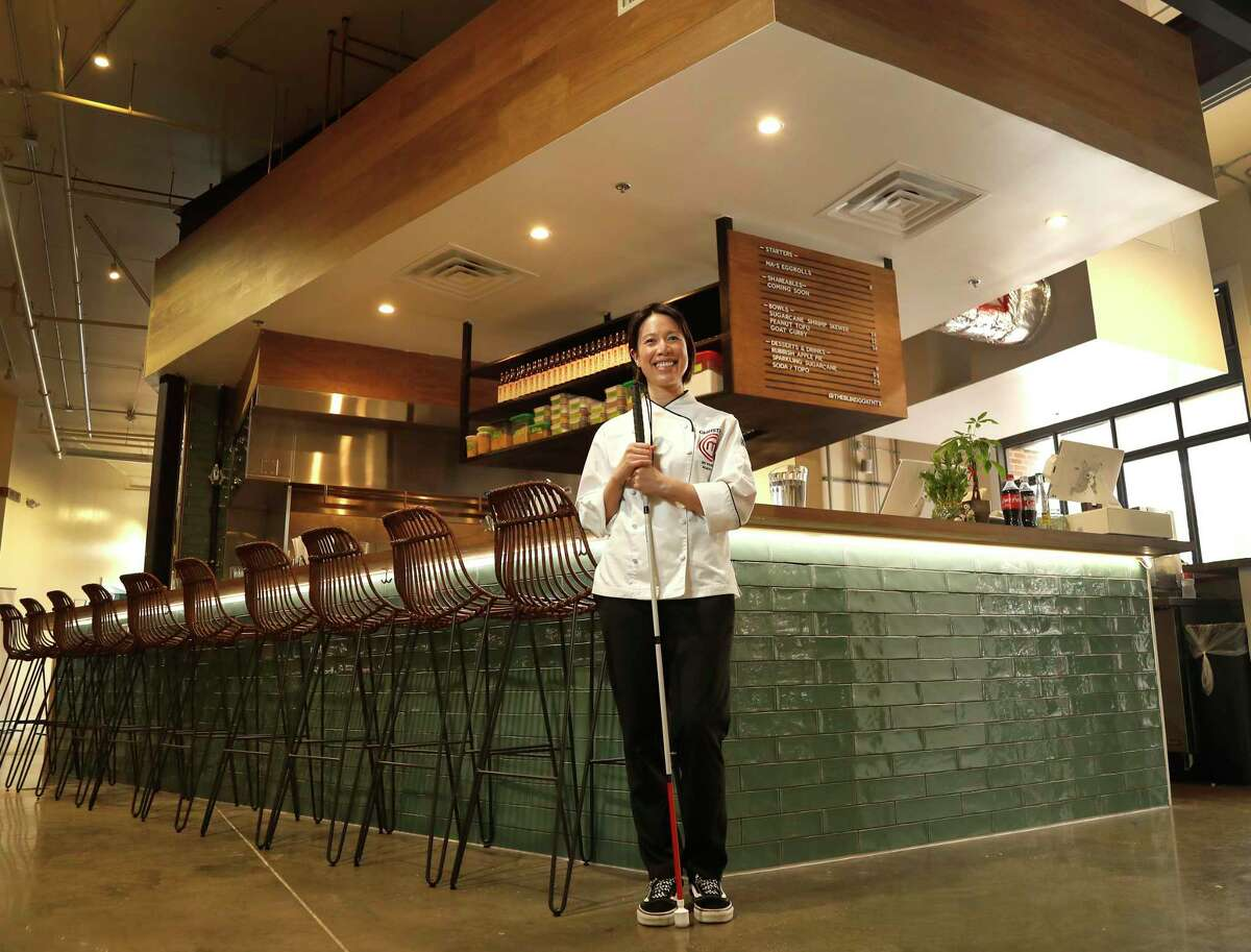 """Houston culinary superstar Christine Ha in her first restaurant, The Blind Goat, at the new Chef Bravery Hall at 409 Travis in the Aris Market Square, downtown. Ha, who won the third season of Fox's """"MasterChef,"""" is blind."""