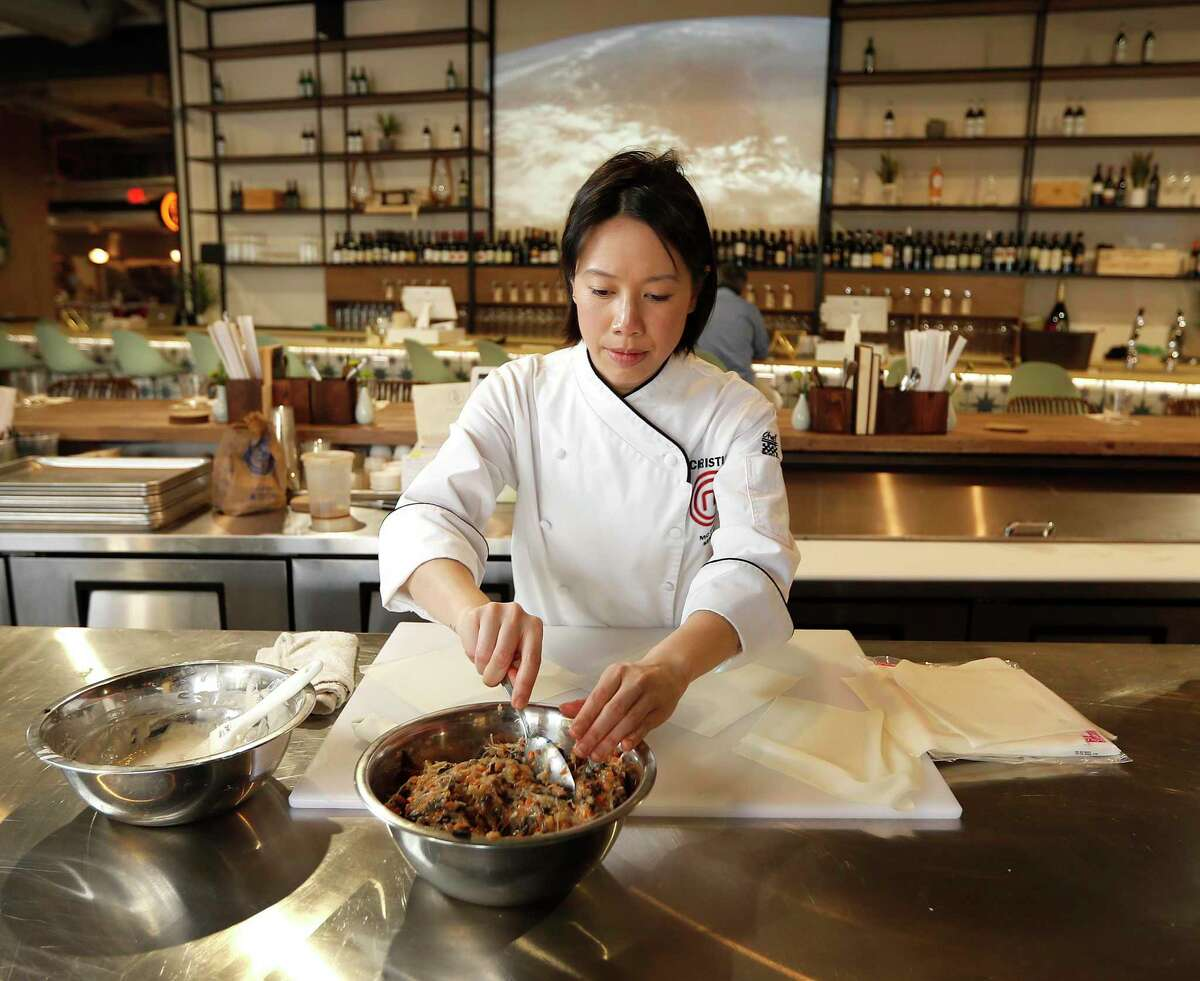 Christine Ha preparing eggrolls at The Blind Goat, her new restaurant in Bravery Chef Hall in downtown Houston. Ha is set to open a new restaurant, Xin Chao, specializing in modern Vietnamese with her husband and business partner John Suh and chef/partner Tony J. Nguyen.
