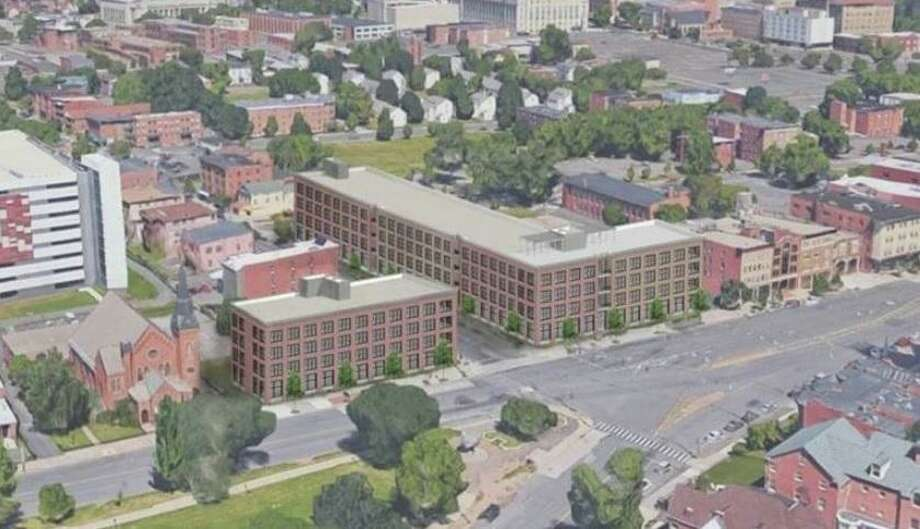 Developers have proposed a ground-up 108-unit apartment and retail development on vacant lots at the corner of Main and Park streets in downtown Hartford. Photo: Contributed Photo / Contributed