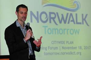 Norwalk Planning and Zoning Director Steve Kleppin gives his opening address as The Norwalk Plan of Conservation and Development Oversight Committee, the 35-member panel overseeing the city's forthcoming revision of its Plan of Conservation and Development, gets its first inkling of what residents want during a Community Visioning Workshop on Saturday, November 18, 2017, at the Center for Global Studies at Brien McMahon High School in Norwalk, Conn.