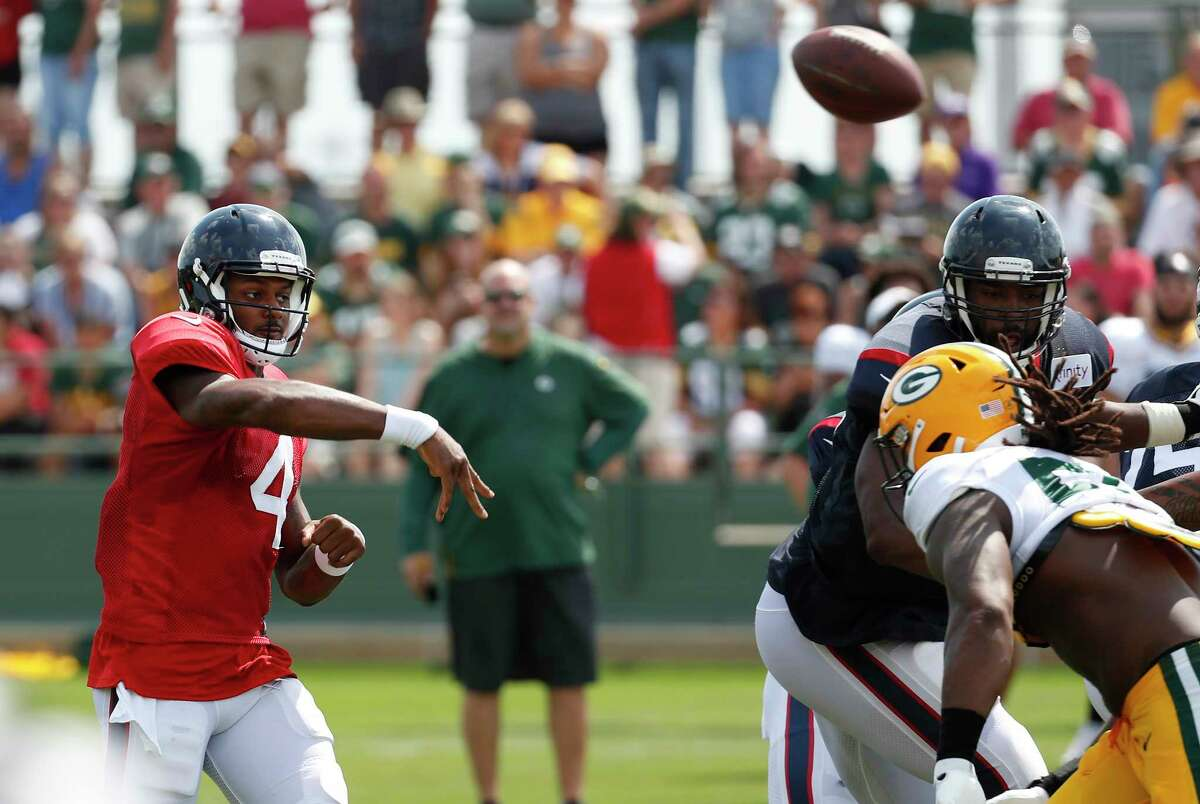 Houston Texans quarterback Deshaun Watson throws a pass during a joint training camp practice with the Green Bay Packers on Monday, Aug. 5, 2019, in Green Bay, Wis.