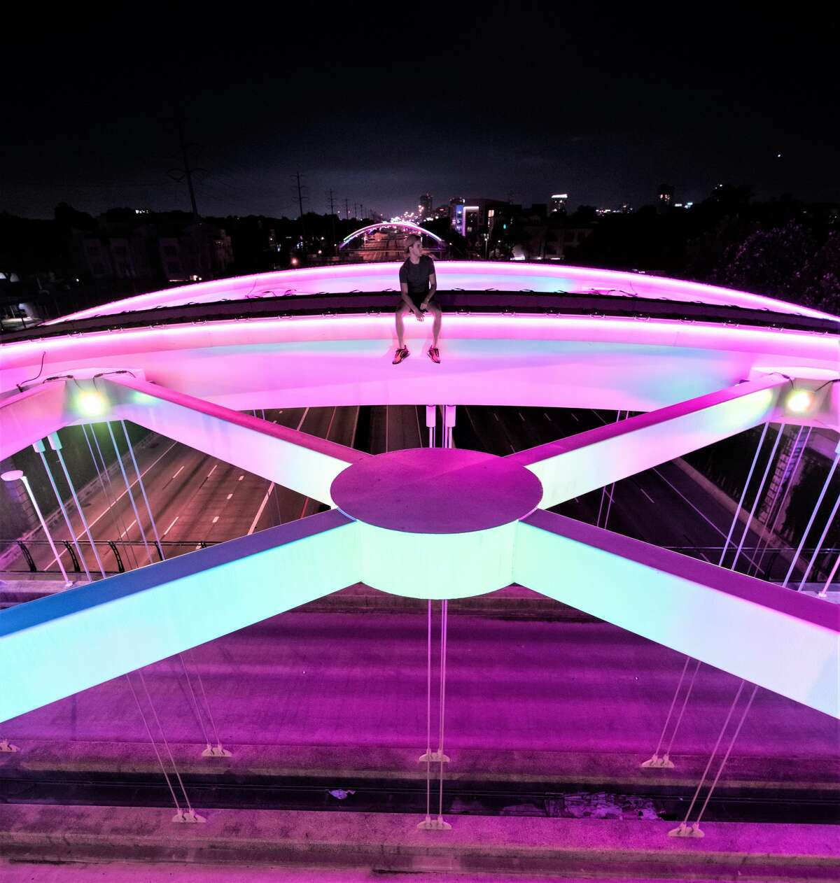 PHOTOS: Two Houston photographers scaled the Montrose bridge, one of a series of illuminated bridges over the Southwest Freeway, capturing jaw-dropping photos and video. >>> See more of the jaw-dropping images ....