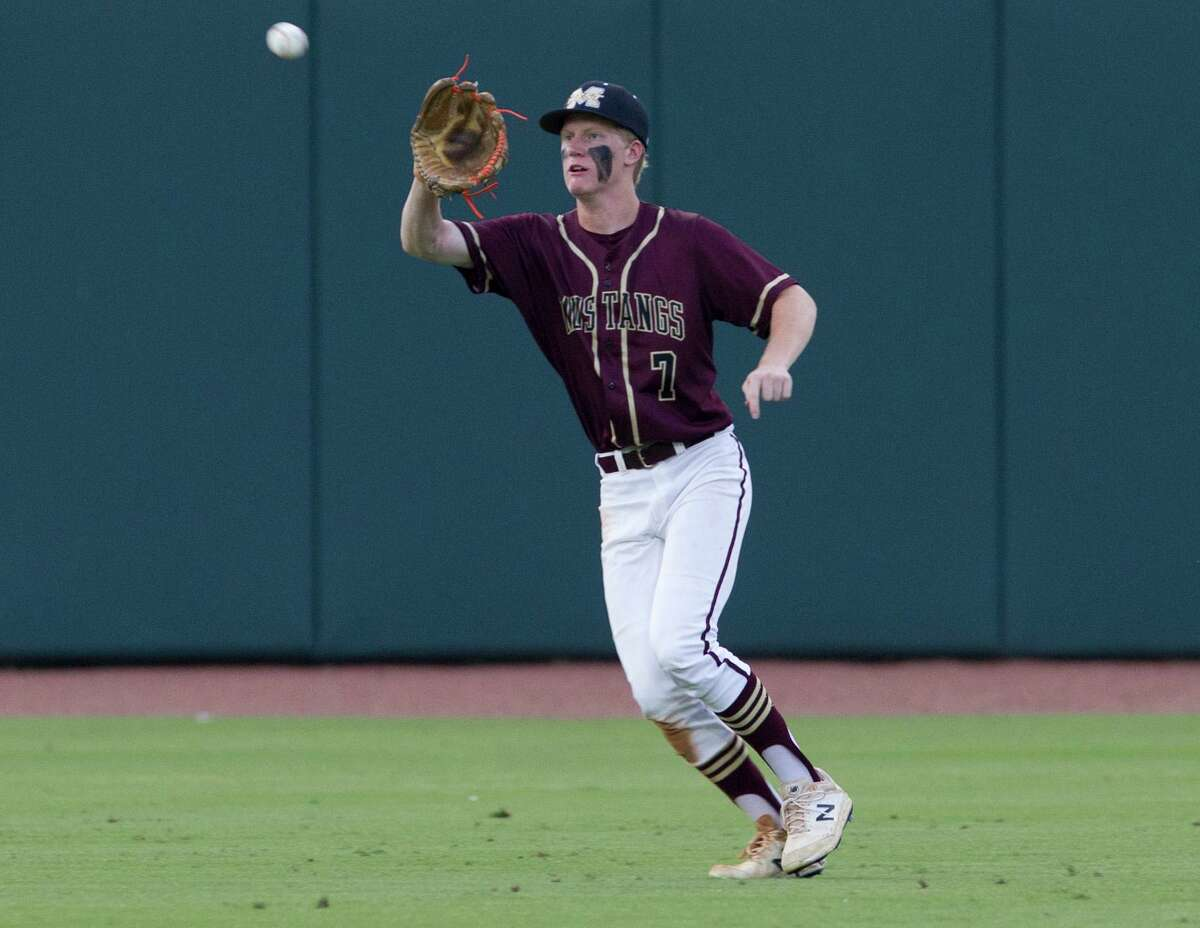 Magnolia West's Carson Carpenter, shown here last season, tripled and drove in a run against Katy on Monday.