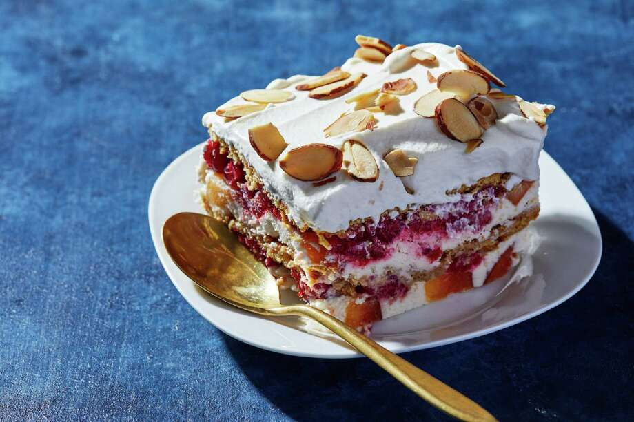 Peach Melba Icebox Cake. MUST CREDIT: Photo by Stacy Zarin Goldberg for The Washington Post. Photo: Stacy Zarin Goldberg / For The Washington Post / For The Washington Post