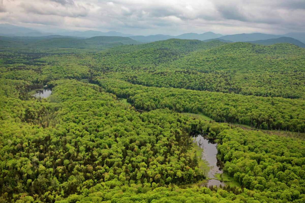 The view from above of the vast Adirondack Park, N.Y. on May 31, 2019. Each summer for decades, hundreds of volunteers would spread out across the Adirondack Forest Preserve to maintain and keep the region's numerous hiking trails clear.After a court ruling, tree-clearing along hiking trails in the Adirondack Park is on hold.