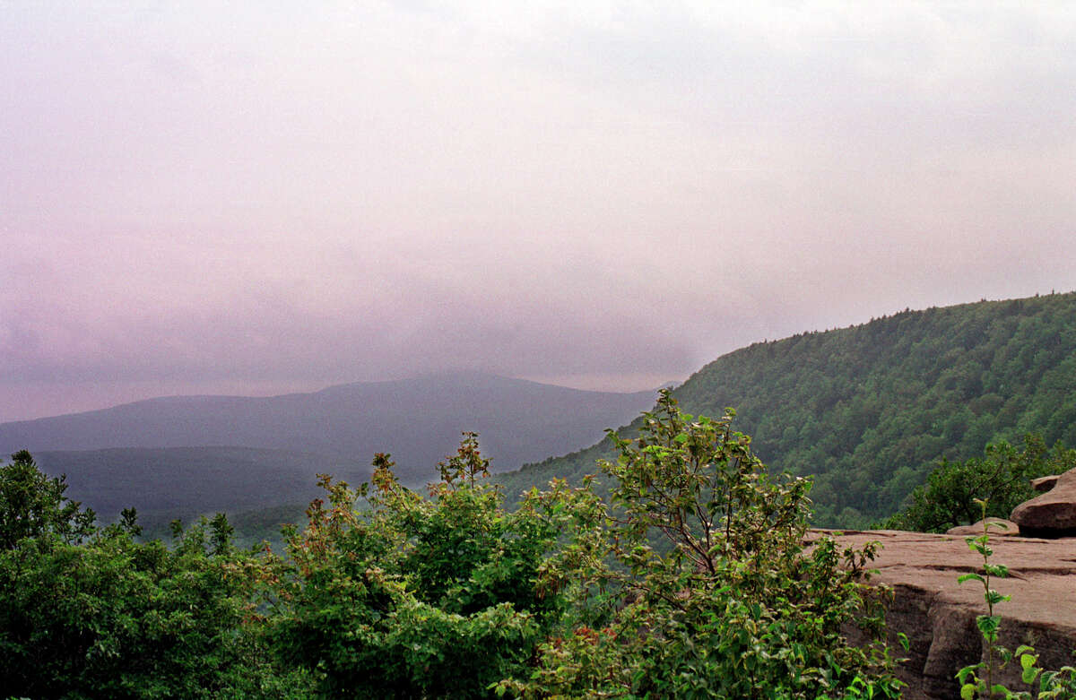 View from North Point along the 23-mile Escarpment Trail near Haines Falls, N.Y., in the 300,000-acre Catskill Forest Preserve.After a court ruling, tree-clearing along hiking trails in the Catskills is on hold.