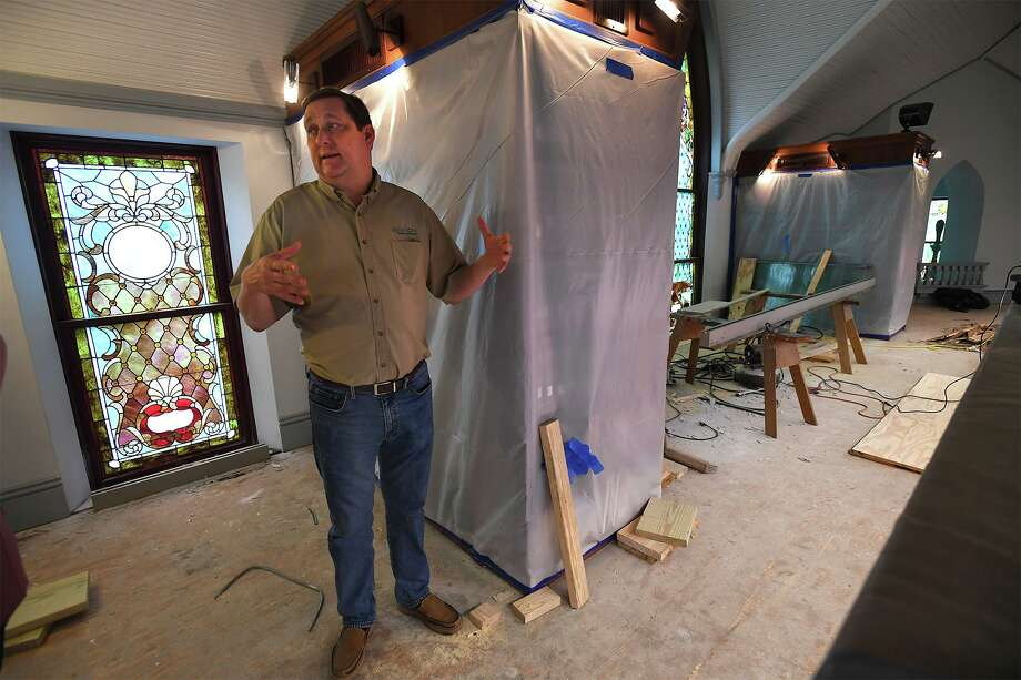 Thomas Ashworth a project planner with the City of Beaumont talks Tuesday about the Tyrrell Library's repair work from Tropical Storm Harvey. Ashworth said the city hopes for the facility to reopen by Christmas time.      Photo taken Tuesday, 7/30/19 Photo: Guiseppe Barranco/The Enterprise, Photo Editor / Guiseppe Barranco ©