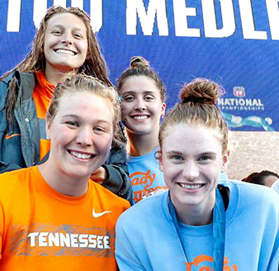 The Tennessee Aquatics team that captured the national championship in the 4x100 medley relay Sunday night at the Phillips 66 US National Championships in Stanford, Calif., From left, Edwardsville's Bailey Grinter, Nikol Popov, Trude Rothrock and Erika Brown. Photo: Tennessee Athletics