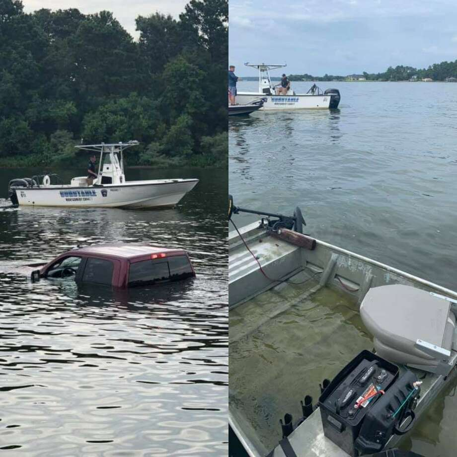 A pickup truck rolled into the water in Lake Conroe this weekend, along with a boat capsizing the day before. Photo: Courtesy Of The Montgomery County Precinct 1 Constable's Office