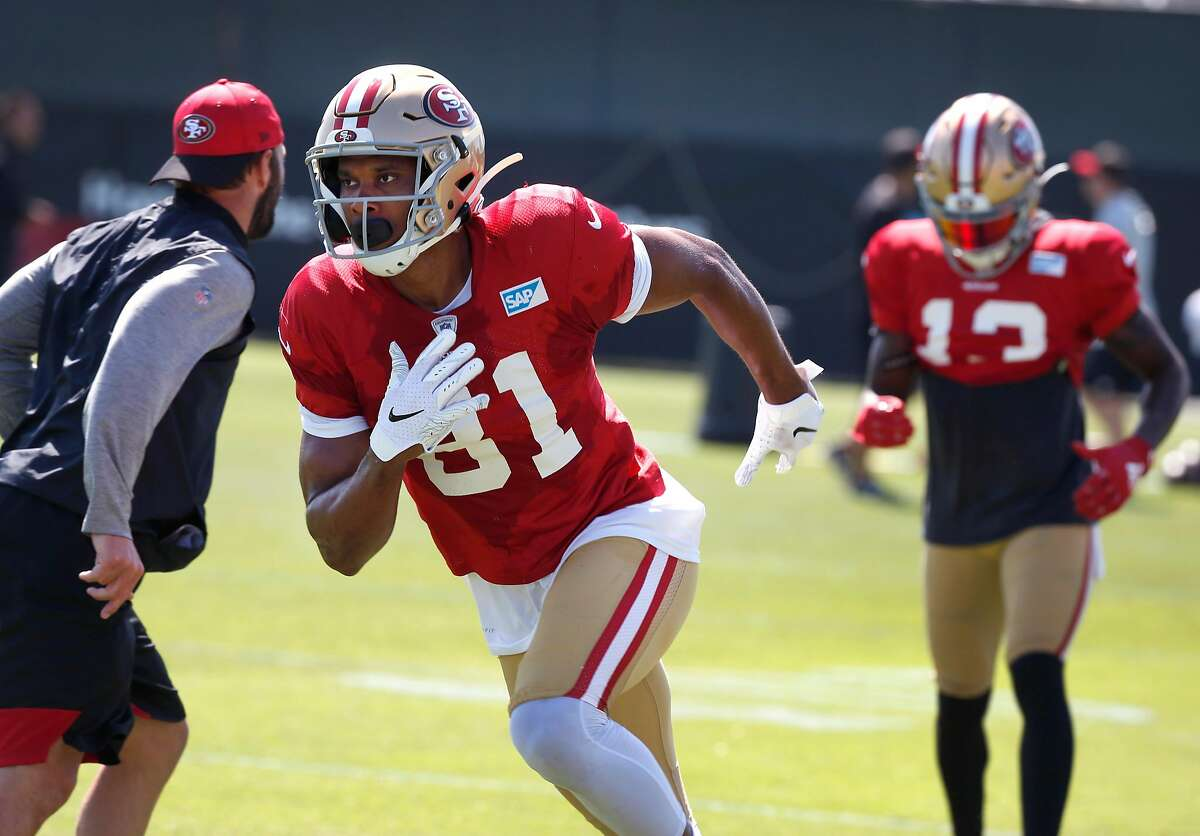 Wide receiver Jordan Matthews participates in a drill at a San Francisco 49ers practice session in Santa Clara, Calif. on Tuesday, July 30, 2019.