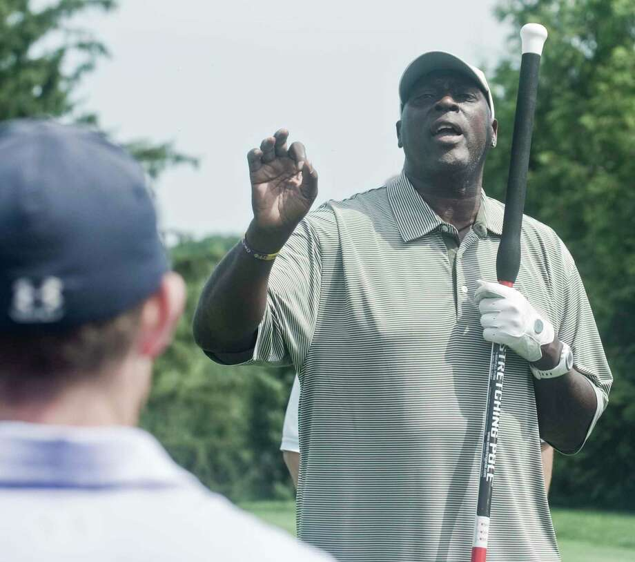 Ottis Anderson speaking to the players at the first tee of the 29th Annual Tim Teufel Celebrity Golf Tournament at Tamarack Country Club. Monday, Aug. 5, 2019 Photo: Scott Mullin / For Hearst Connecticut Media / The News-Times Freelance