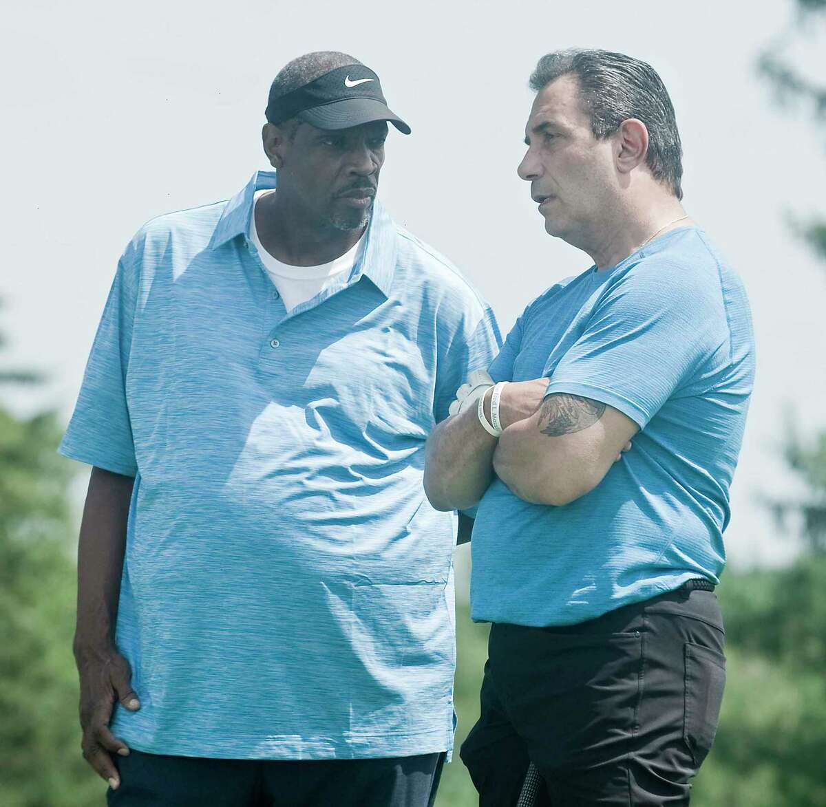 Dwight Gooden and Lee Mazzilli having a chat on a tee box at the 29th Annual Tim Teufel Celebrity Golf Tournament at Tamarack Country Club. Monday, Aug. 5, 2019