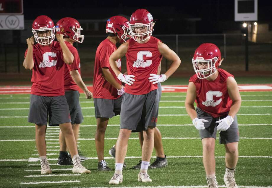 The Coahoma football team goes through Midnight Madness practice late Sunday night at Bill Easterling Memorial Stadium. Photo: Lyndel Moody | Special To The Reporter-Telegram