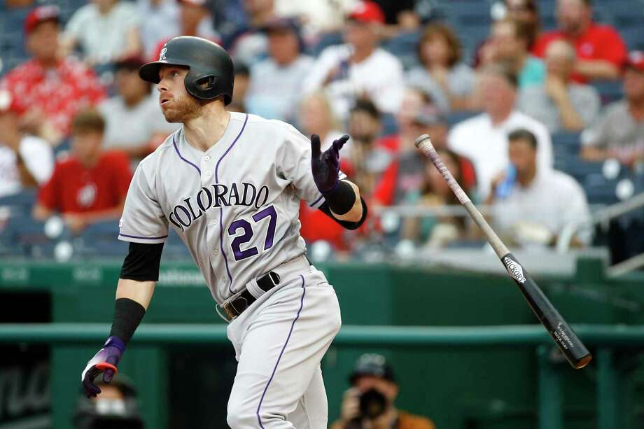 On Sunday, Rockies shortstop Trevor Story joined Hall of Famers Mike Schmidt and Rogers Hornsby as the only players to homer in five consecutive games against the Giants. Photo: Patrick Semansky, STF / Associated Press / Copyright 2019 The Associated Press. All rights reserved.