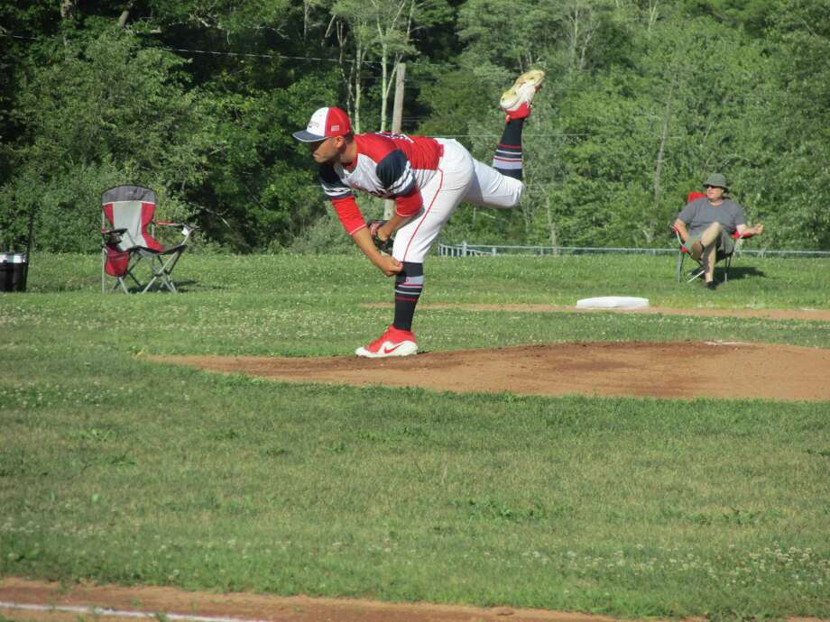 LItchfield iron-man ace Justin Koutros won his second start in three days in a Cowboys win over the Wolcott Scrappers Monday evening at Litchfield High School, completing a Tri-State Baseball League Tournament quarterfinal round. Photo: Peter Wallace / For Hearst Connecticut Media