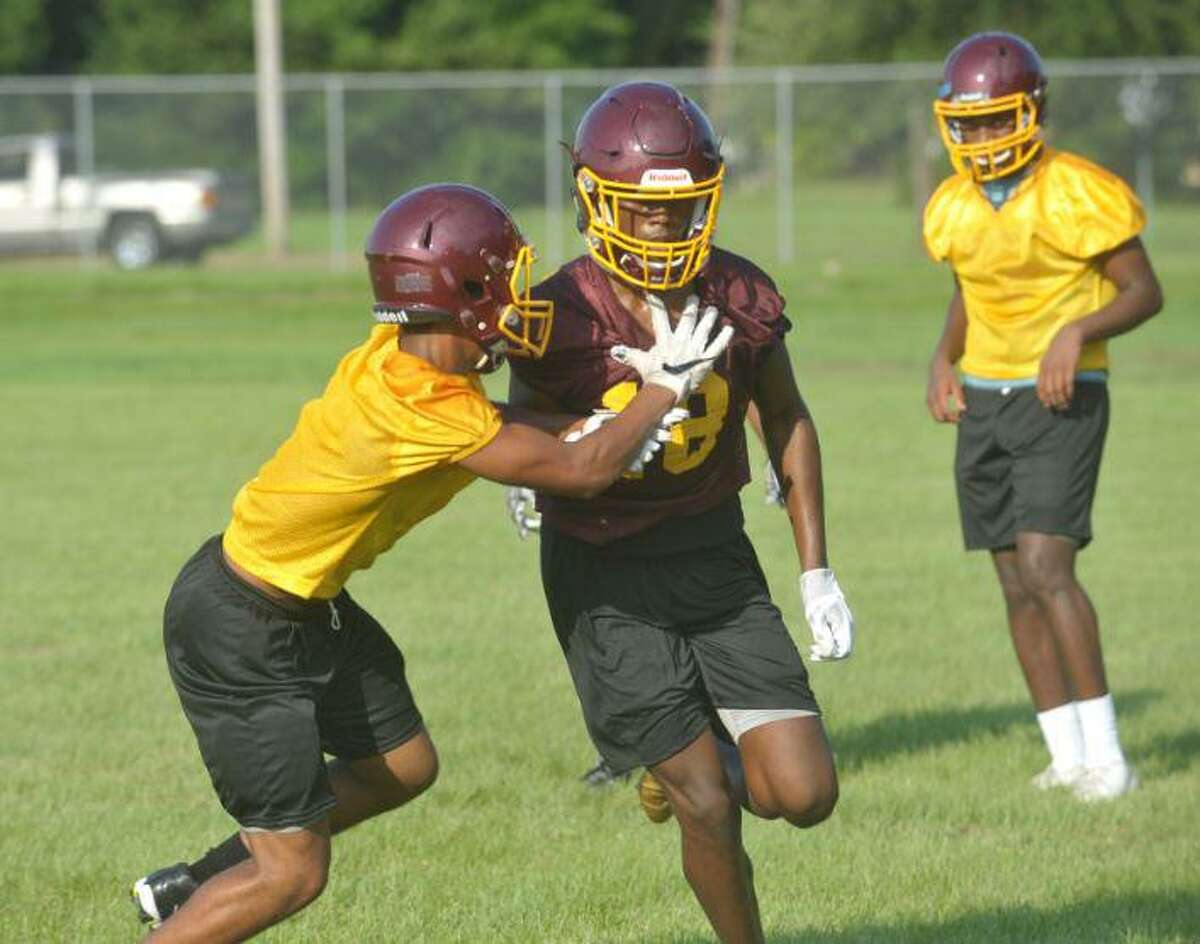 Beaumont United players run drills during the team's first practice on Monday. Photo by Matt Faye/The Enterprise