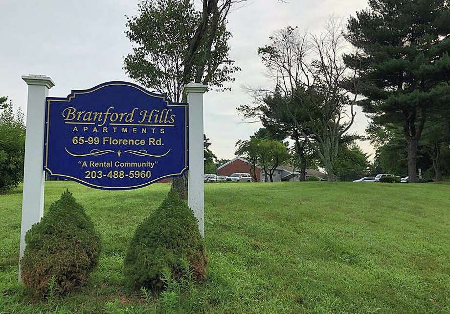 """State and local police are investigating the deaths of two people found inside a Florence Road apartment with signs of trauma, officials said. Dispatchers received a 911 call at around 6:18 p.m. Monday evening and found two bodies in an apartment at 111 Florence Road in the Branford Hills apartment complex, police said. The people who died had """"signs of trauma"""" but police said there is """"no known immediate threat related to the incident."""" Photo: Ben Lambert /Hearst Connecticut Media"""