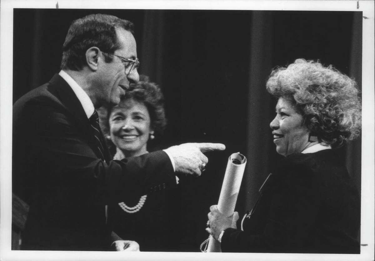 The Egg, Albany, New York - New York Governor Mario Cuomo and Matilda Cuomo join with Toni Morrison after presenting the novelist with a Governor's Arts Award during ceremonies at The Egg Tuesday night. March 4, 1986 (Ray Hoy/Times Union Archive)
