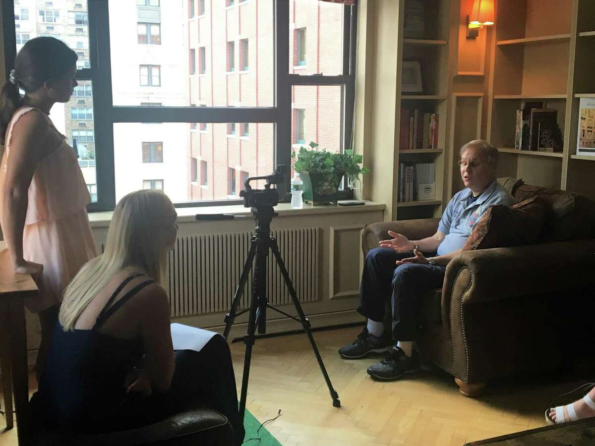 Gary Smiley, FDNY 9/11 responder, is interviewed by Vocies of September 11th interns for their presentation