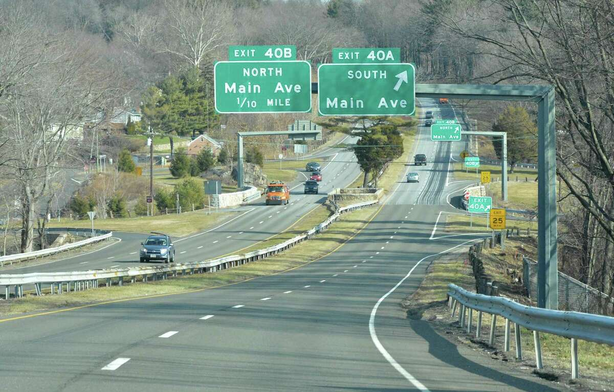 The Merritt Parkway looking north to the intersection with Main Ave. in Norwalk on Monday January 30 2017, in Norwalk Conn.
