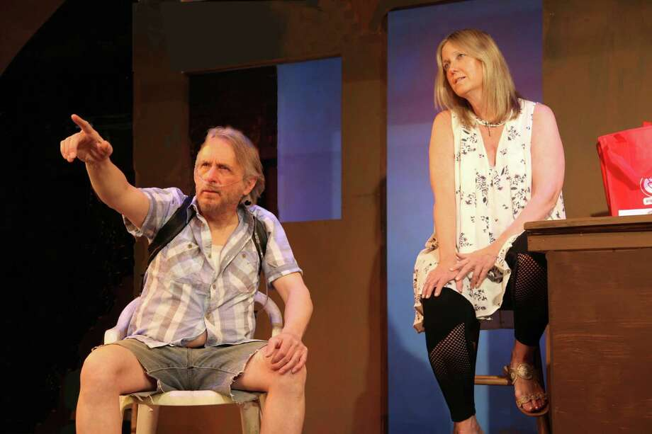 "Alexander Kulcsar of Fairfield and Ann Kinner of Westport starred in ""Annapurna"" in Newtown. Photo: Town Players Of Newtown Little Theatre / Contributed Photo"