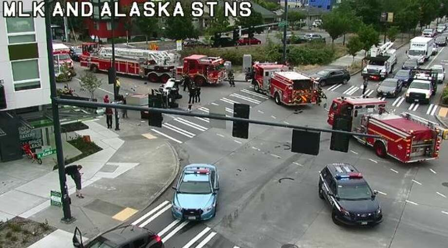 A car hit a pedestrian at the intersection of Martin Luther King, Jr. Way South and South Alaska Street. Photo: Courtesy SDOT