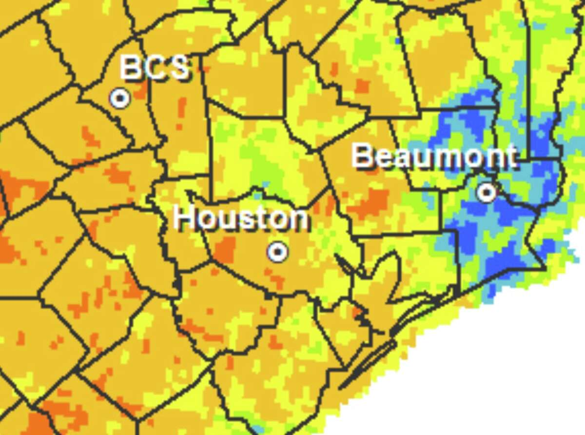 Much of Harris County sits between 500 and 600 on the Keetch-Byram Drought Index, which measures moisture saturation in the ground throughout Texas. The scale is zero to 800, with higher values indicating drier ground.