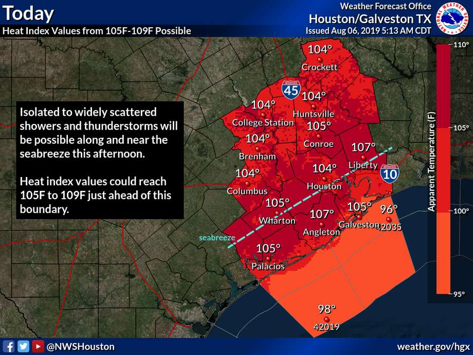 High heat could trigger heat advisories for Southeast Texas on Friday through the weekend, according to the National Weather Service. Photo: National Weather Service