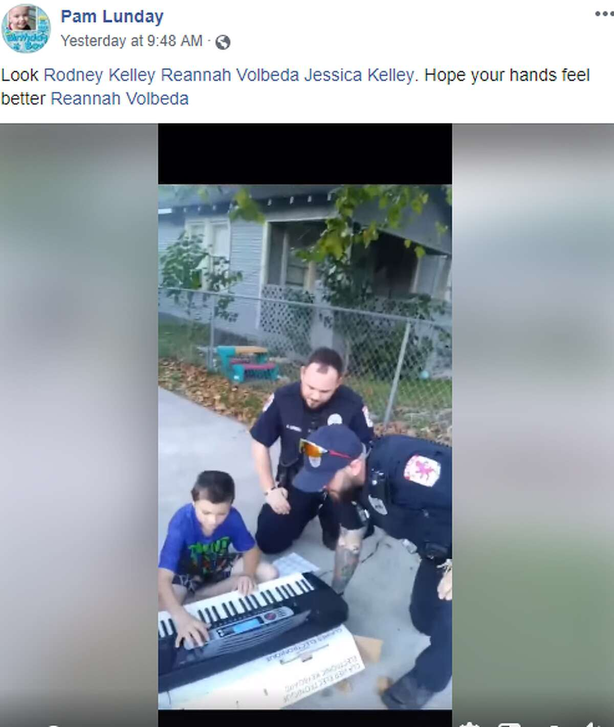 After the Baytown Fire Department used power tools to remove handcuffs from Pam Landy's granddaughter (accidentally placed on her, by her sister), members of the Baytown Police Department returned the next day for a musical jam session.