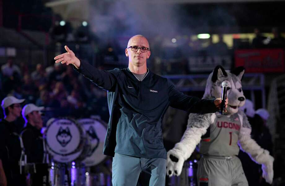 UConn men's coach Dan Hurley is introduced during the annual First Night celebration, in Storrs on Friday, Oct. 12, 2018. Photo: Jessica Hill / Associated Press / Copyright 2018 The Associated Press. All rights reserved