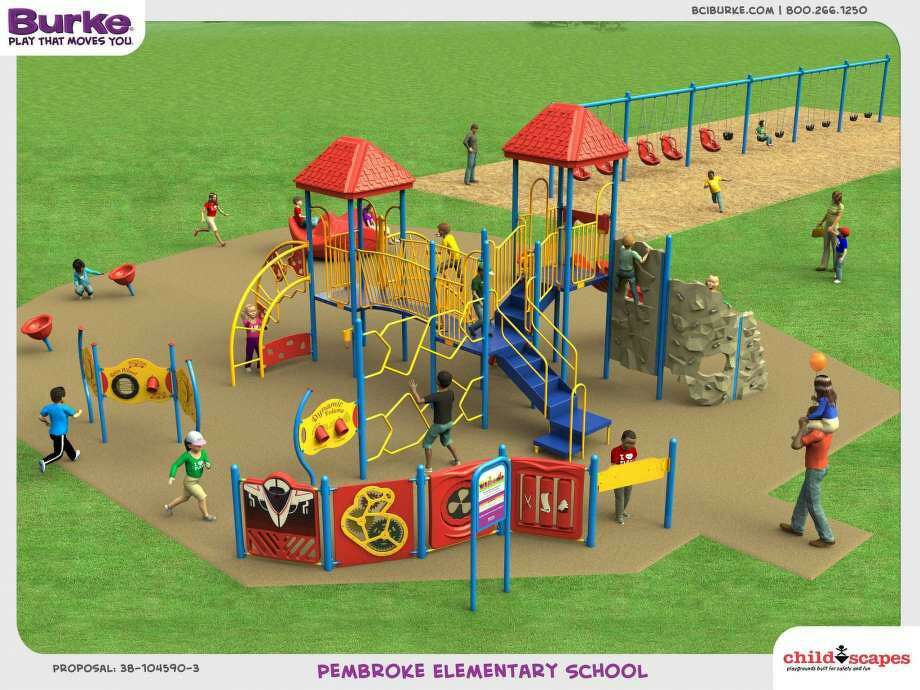 A rendering by playground design firm Childscapes illustrates the type of equipment that could be included in a new Pembroke Elementary School playground that is fully accessible for special needs students. Photo: Submitted Image