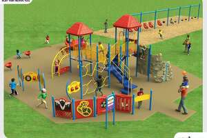A rendering by playground design firm Childscapes illustrates the type of equipment that could be included in a new Pembroke Elementary School playground that is fully accessible for special needs students.