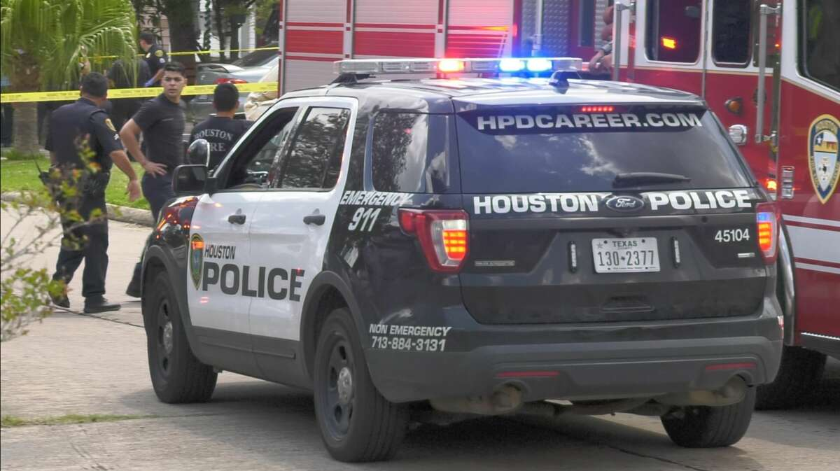 Houston police investigate a deadly shooting in the 7400 block of Satsuma on Tuesday, Aug. 6, 2019.
