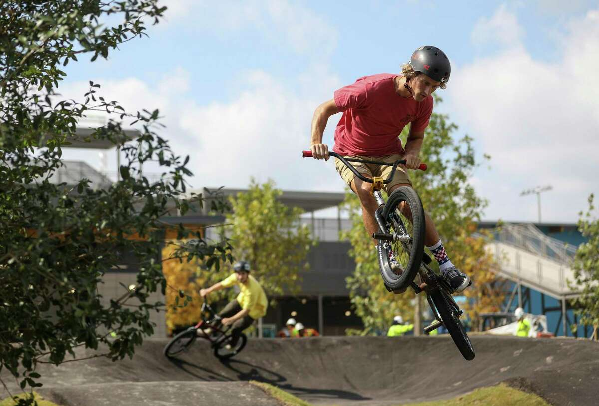Dylan Wright rides at the North Houston Bike Park.