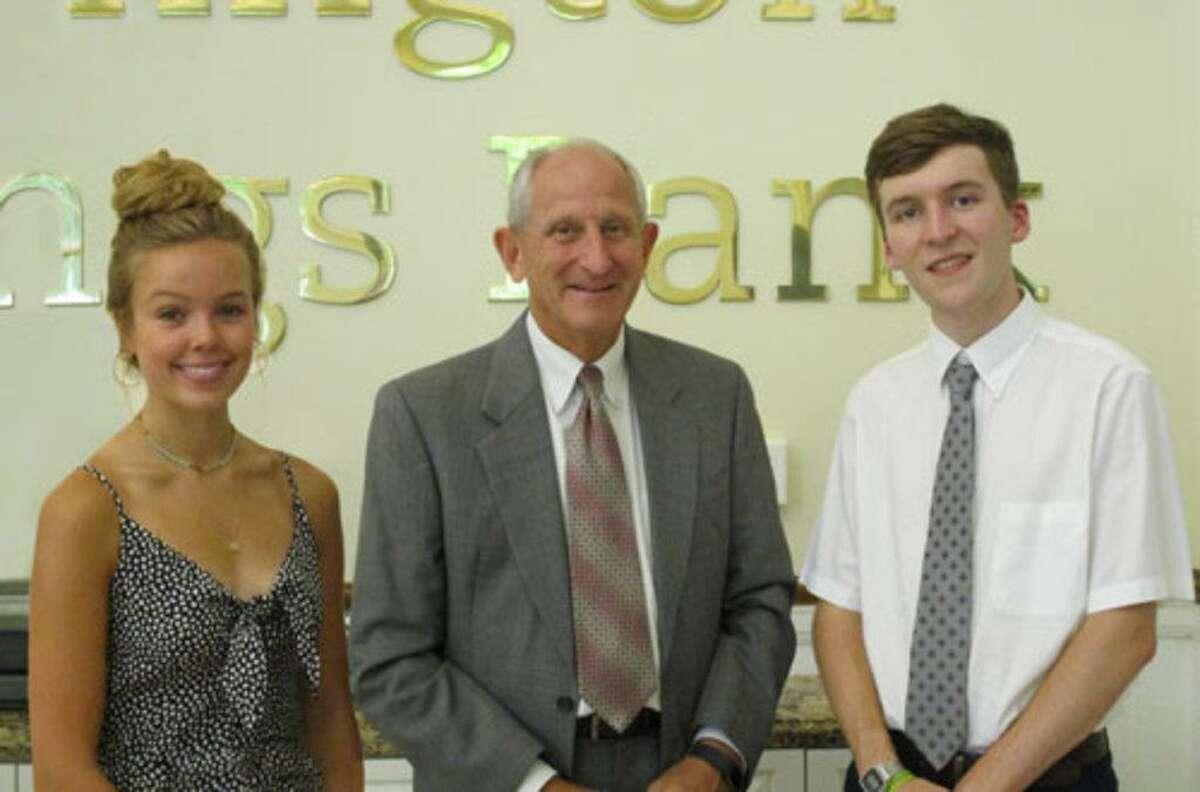 Left to right: Scholarship recipient Brierley Lloyd, John Janco, Torrington Savings Bank president and CEO, and scholarship recipient Adam Ferrarotti