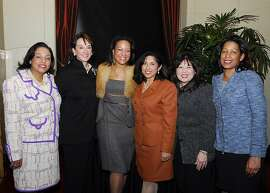 At a League of Women Voters of San Francisco gala in 2008, Elmy Bermejo is third from the right.