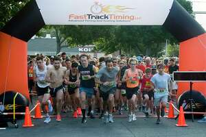 Runners edge to the front of the line at last year's Margarita Run 5K. This year, the race is virtual allowing runners to choose when and where they run during a specific window of time.