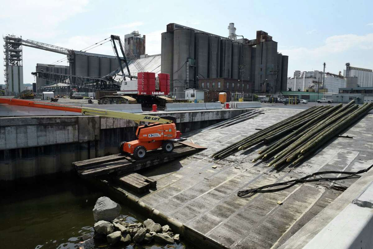 Construction of a new roll-off, roll-on ramp to handle oversized loads nears completion at the Port of Albany on Tuesday, Aug. 6, 2019, in Albany N.Y. The $16.5M ramp will expedite loading of oversized shipments, such as electric generating equipment from General Electric. (Will Waldron/Times Union)