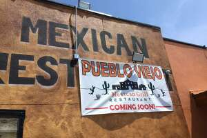 "Temporary ""coming soon"" signage for a new Mexican restaurant named Pueblo Viejo in San Antonio's Tobin Hill area has been put up in the former Plaza Guadalajara building at 1626 McCullough Ave."