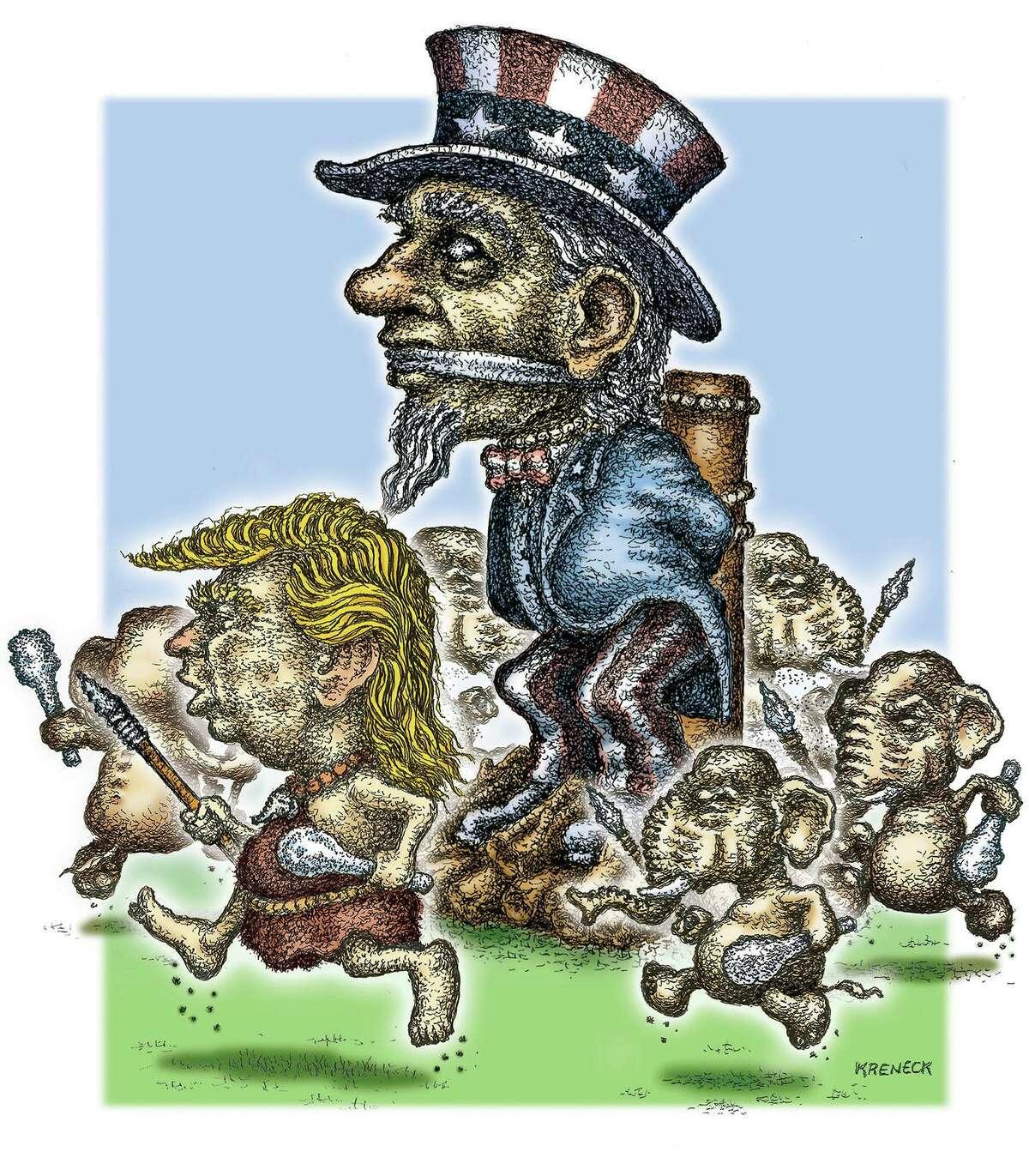Kevin Kreneck illustration about Donald Trump and GOP.