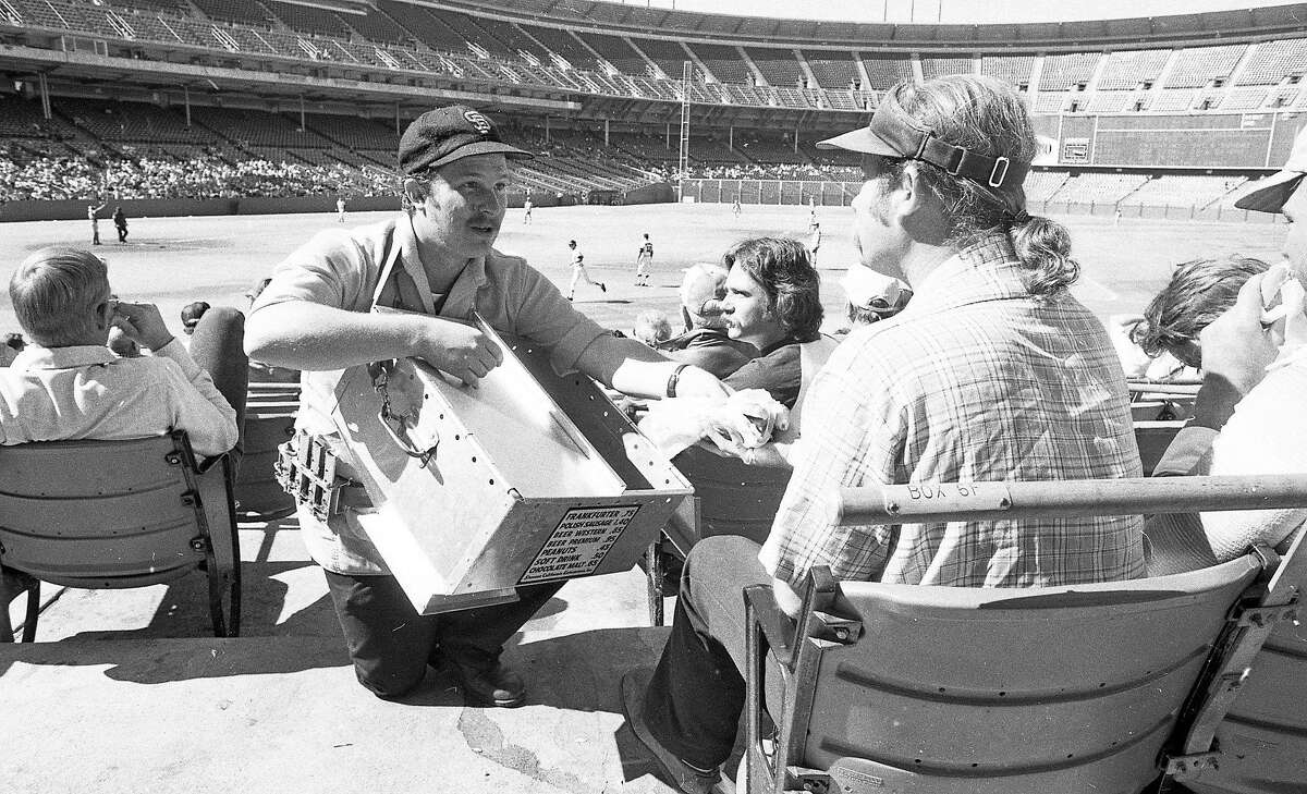 Sept. 13, 1976: A vendor sells hot dogs at a near-empty Candlestick Park at a San Francisco Giants game in 1976.