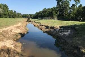 Erosion near Deer Ridge Boulevard in Kingwood.