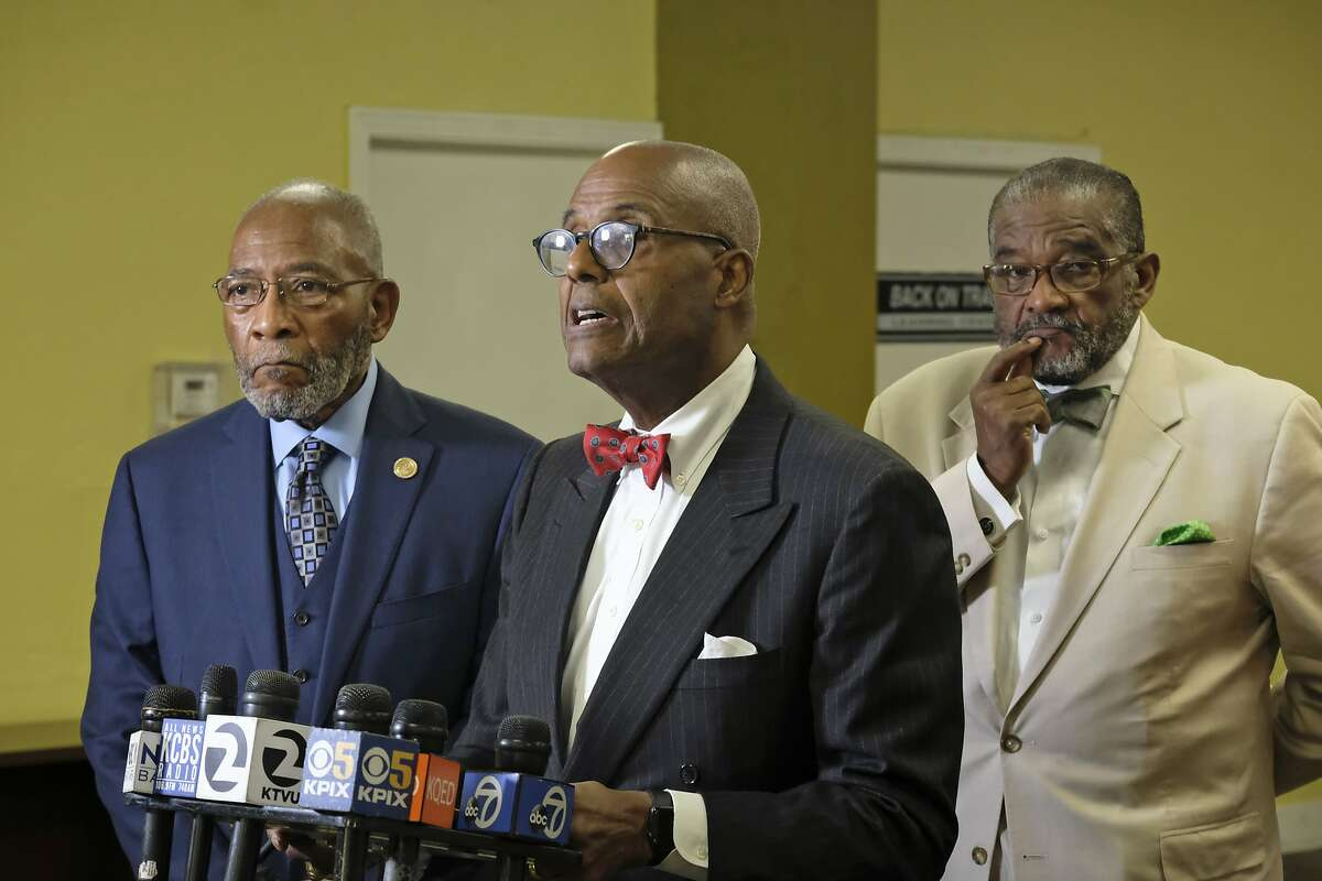 African American leaders from left, local NAACP President Dr. Amos Brown, columnist Noah Griffin and Rev. Arnold Townsend voice their support for keeping a controversial mural at Washington High School during a news conference Tuesday, Aug. 6, 2019, in San Francisco. The controversial 13-panel, 1,600-square foot mural, the