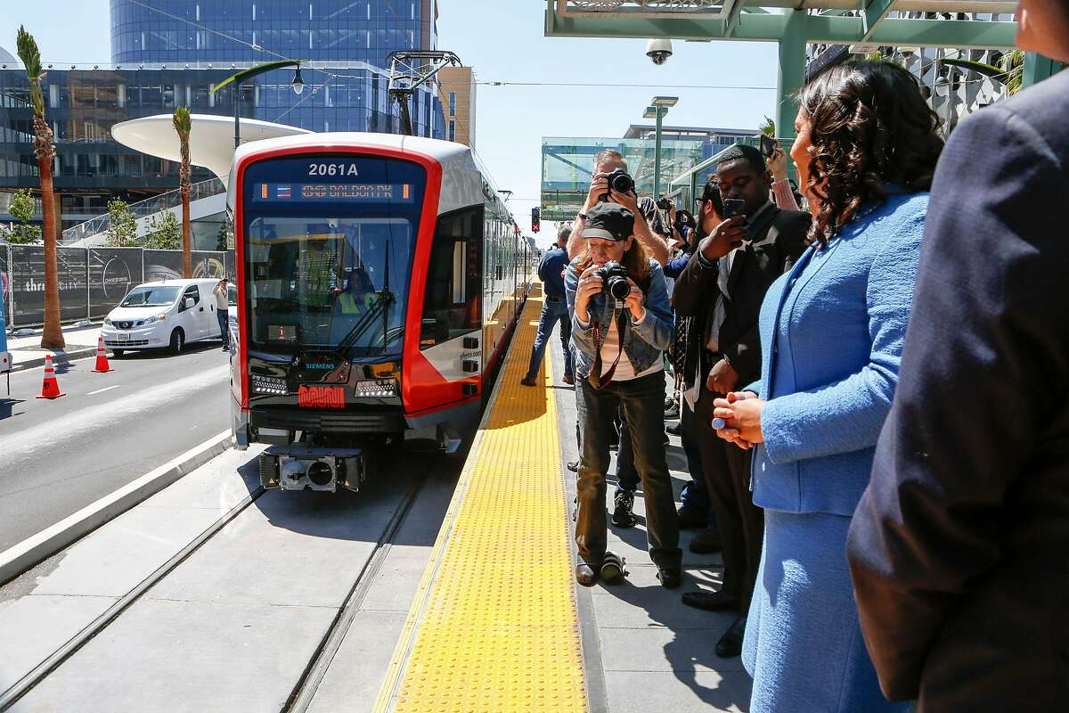 Mayor London Breed watches as the first train to stop at the new UCSF/Chase Center platform approaches on Tuesday, August 6, 2019 in San Francisco.