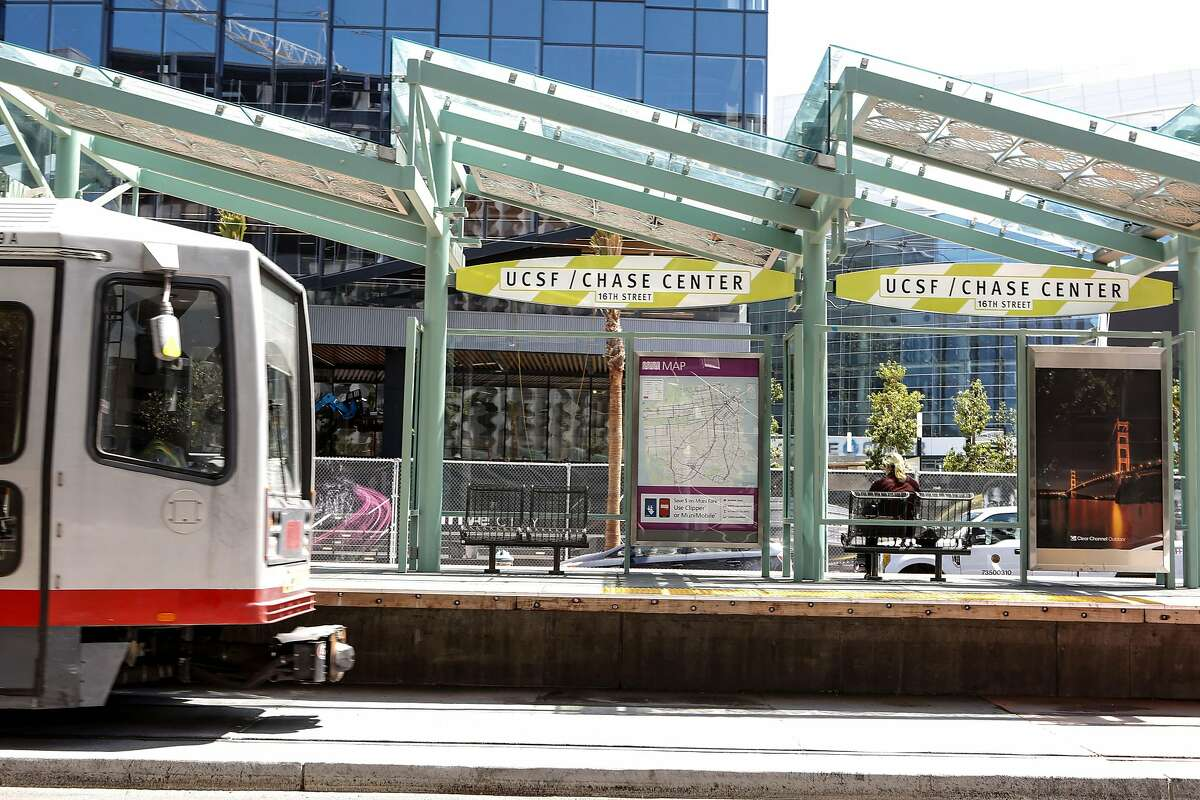 One of the first of many trains to pass through Muni's UCSF/Chase Center platform is seen just after the opening of the new stop on Tuesday, August 6, 2019 in San Francisco.