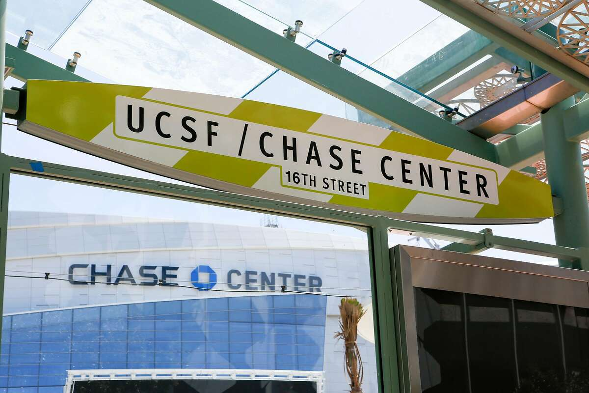 The new UCSF/Chase Center platform sign is seen in front of the Chase Center on its opening day on Tuesday, August 6, 2019 in San Francisco, Calif.