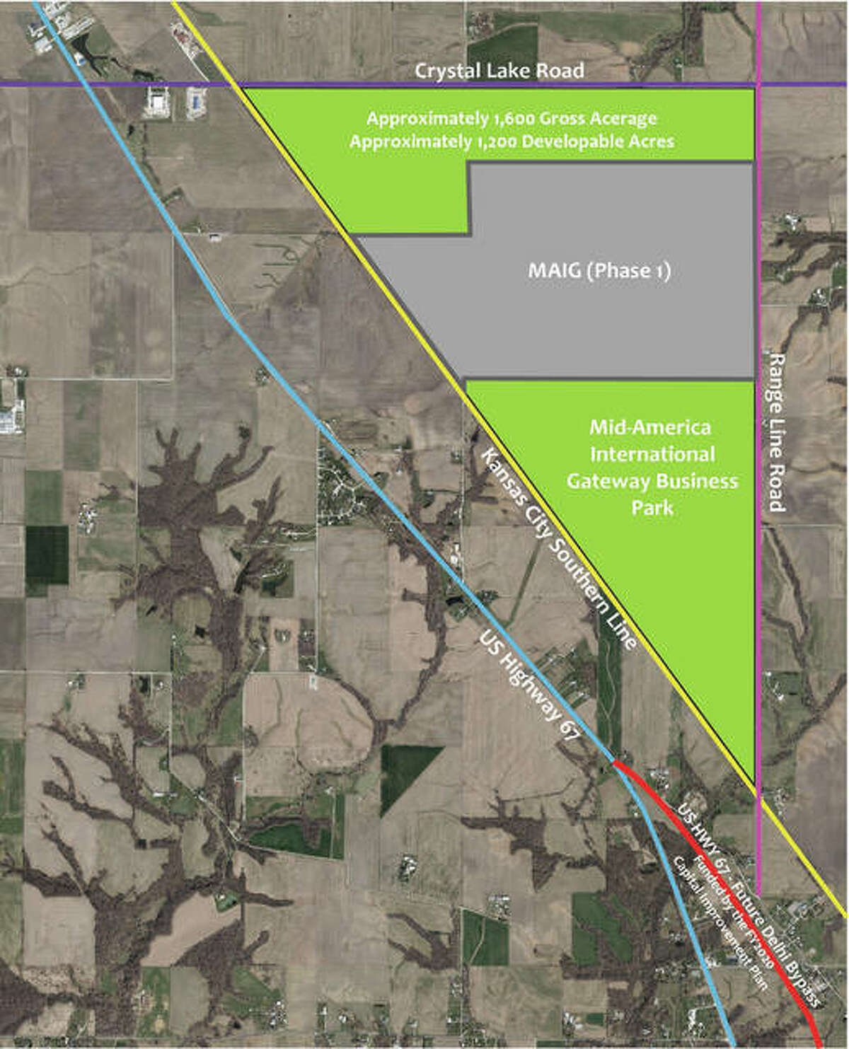 """The Mid-American International Gateway Business Park in rural Jersey County has been selected one of the first 16 """"Super Sites"""" for development in Illinois."""