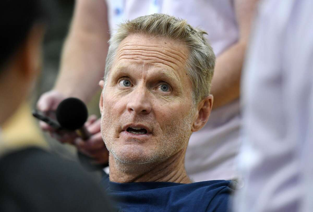 Assistant coach Steve Kerr of the 2019 USA Men's National Team is interviewed during a practice session at the 2019 USA Basketball Men's National Team World Cup minicamp at the Mendenhall Center at UNLV on August 5, 2019 in Las Vegas, Nevada. (Photo by Ethan Miller/Getty Images)