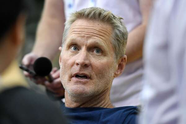 LAS VEGAS, NEVADA - AUGUST 05: Assistant coach Steve Kerr of the 2019 USA Men's National Team is interviewed during a practice session at the 2019 USA Basketball Men's National Team World Cup minicamp at the Mendenhall Center at UNLV on August 5, 2019 in Las Vegas, Nevada. (Photo by Ethan Miller/Getty Images)
