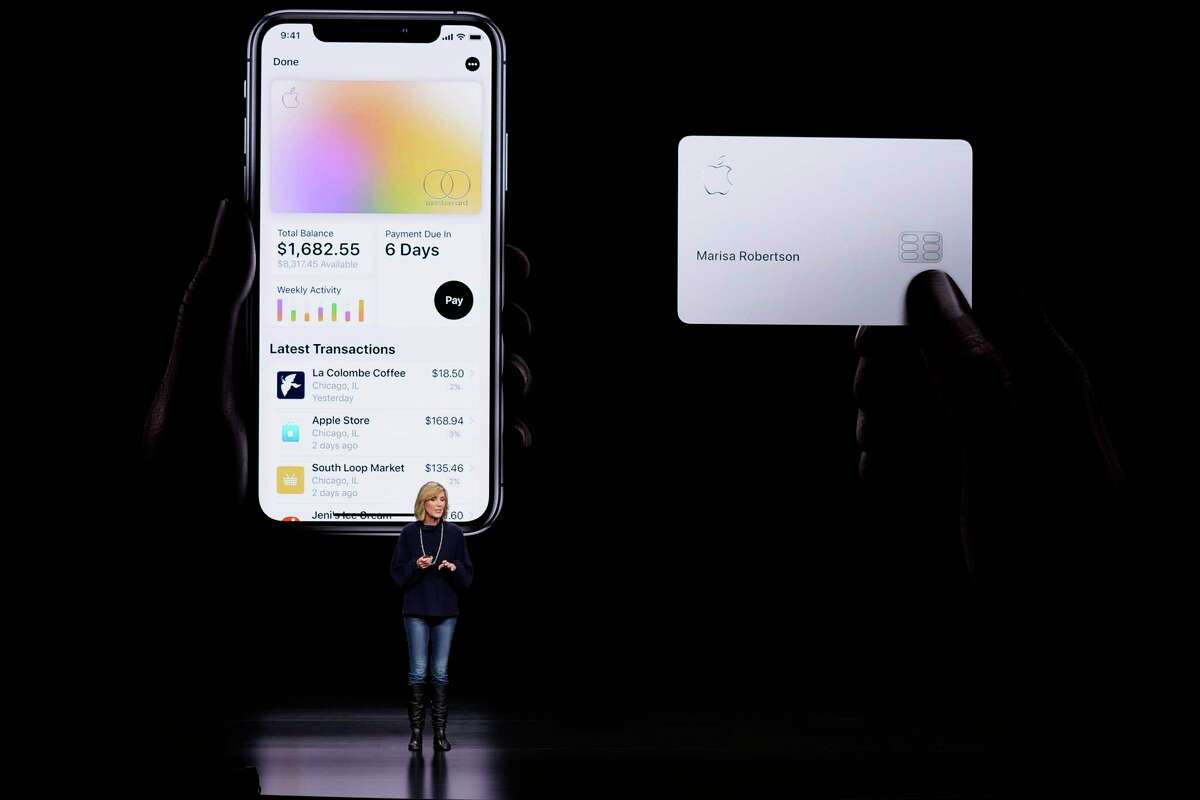 FILE- In this March 25, 2019, file photo, Jennifer Bailey, vice president of Apple Pay, speaks about the Apple Card at the Steve Jobs Theater during an event to announce new products in Cupertino, Calif. The Apple-branded credit card thata€™s designed primarily for mobile use will start rolling out on Tuesday, Aug. 6. (AP Photo/Tony Avelar, File)
